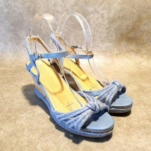 """Wanted Womens Sz 9 M Blue Ankle Strap 3.5"""" Wedge"""